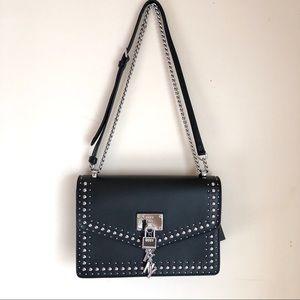 DKNY Elissa Studded Black Leather Shoulder Bag